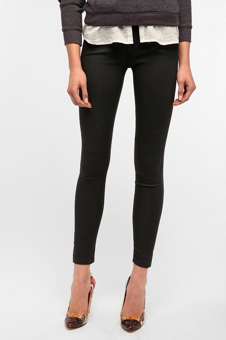 """I want a flattering pair of ankle-length pants when I'm at my goal weight. And, yes, I understand that that's a fashion """"no"""" being 5'0"""", and I don't care. BDG Coated Twig Mid-Rise Jean"""