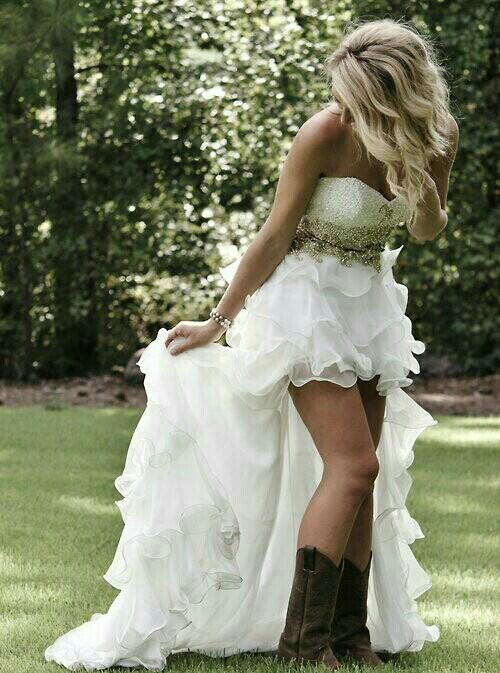 High-low wedding dress with cowboy boots | Wedding Dresses ...