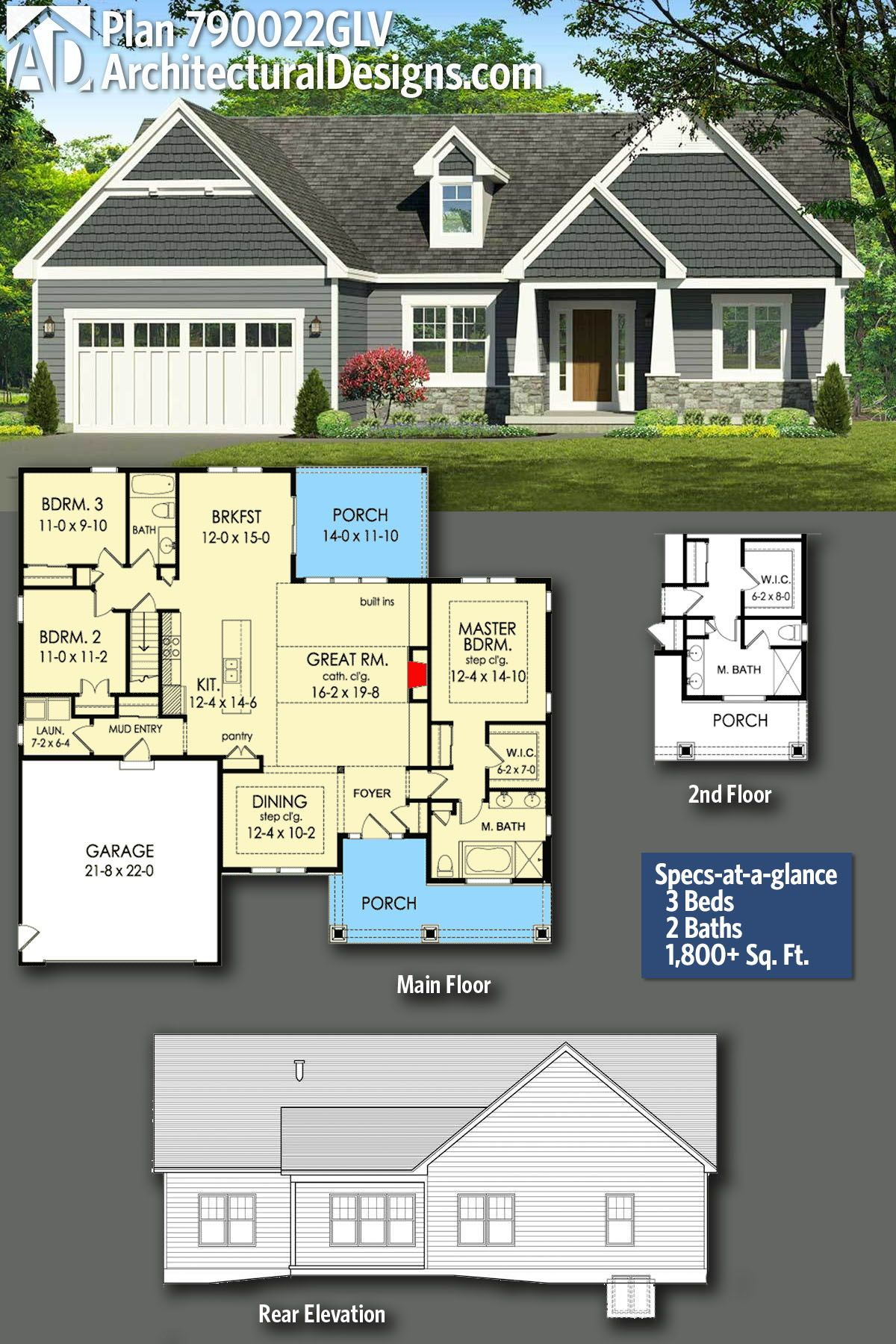 Plan 790022glv Exclusive 3 Bed Craftsman Ranch Home Plan With Master Bath Option Ranch House Plans Craftsman House Plans Craftsman Ranch