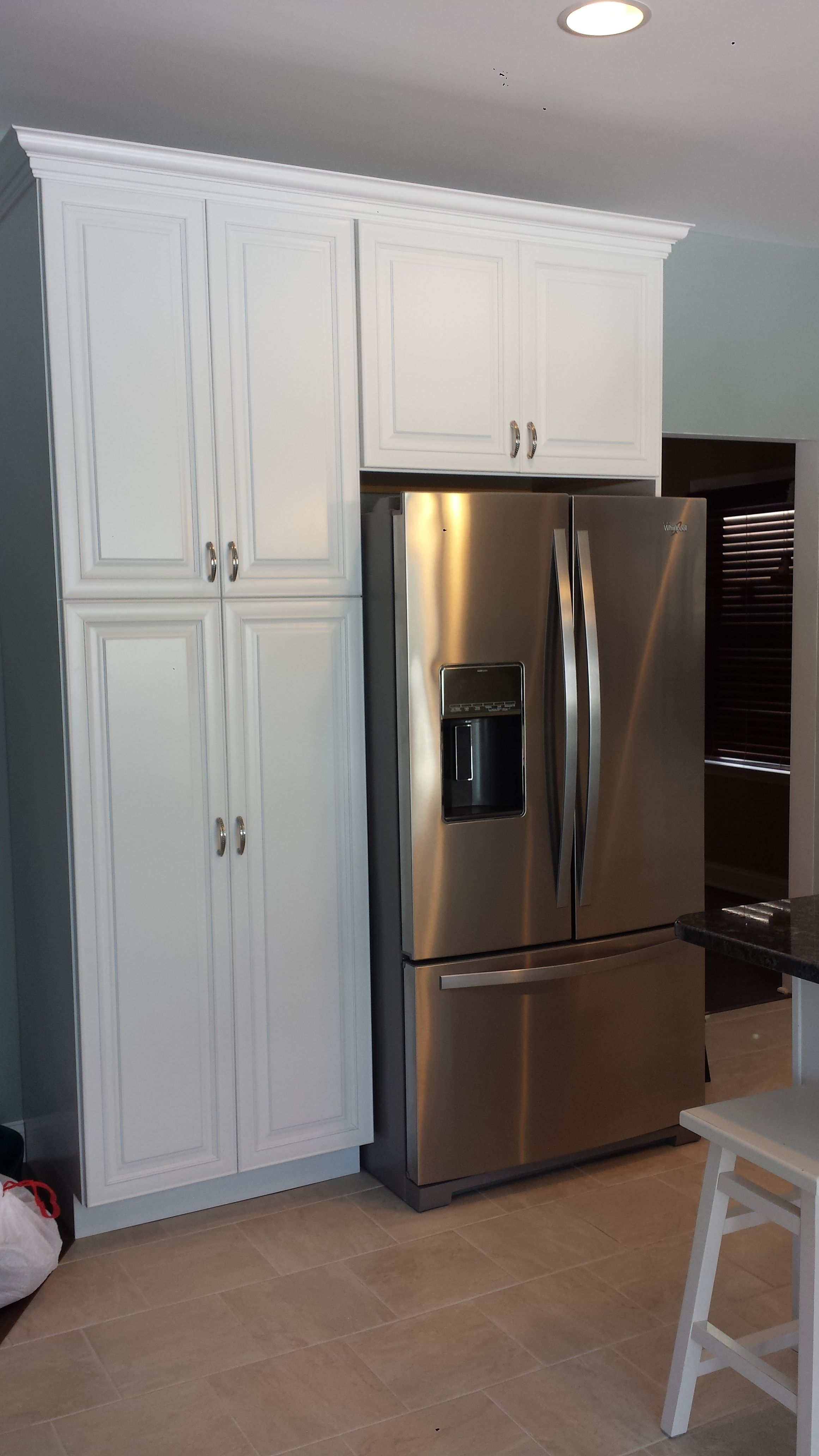 Streater Kitchen Designed By Thomas Matteo #kitchen #kraftmaid #cabinets  #refrigerator #pantry