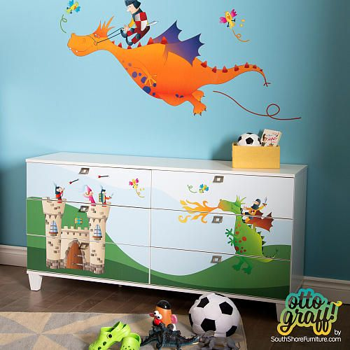 """South Shore Andy 6-Drawer Double Dresser with Ottograff Decals - Pure White - South Shore Furniture - Babies """"R"""" Us"""