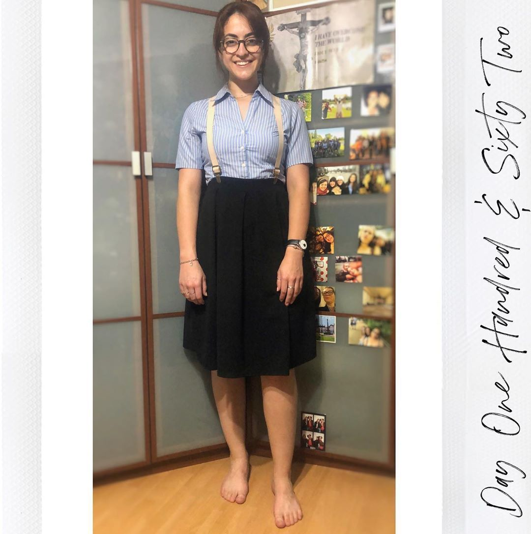 """Gabriela on Instagram: """"Day One Hundred & Sixty Two —————————————————————————— • • • • #blackskaterskirt #stripedshirts #suspenders #bluewhiteandblack  #outfitpost…"""""""