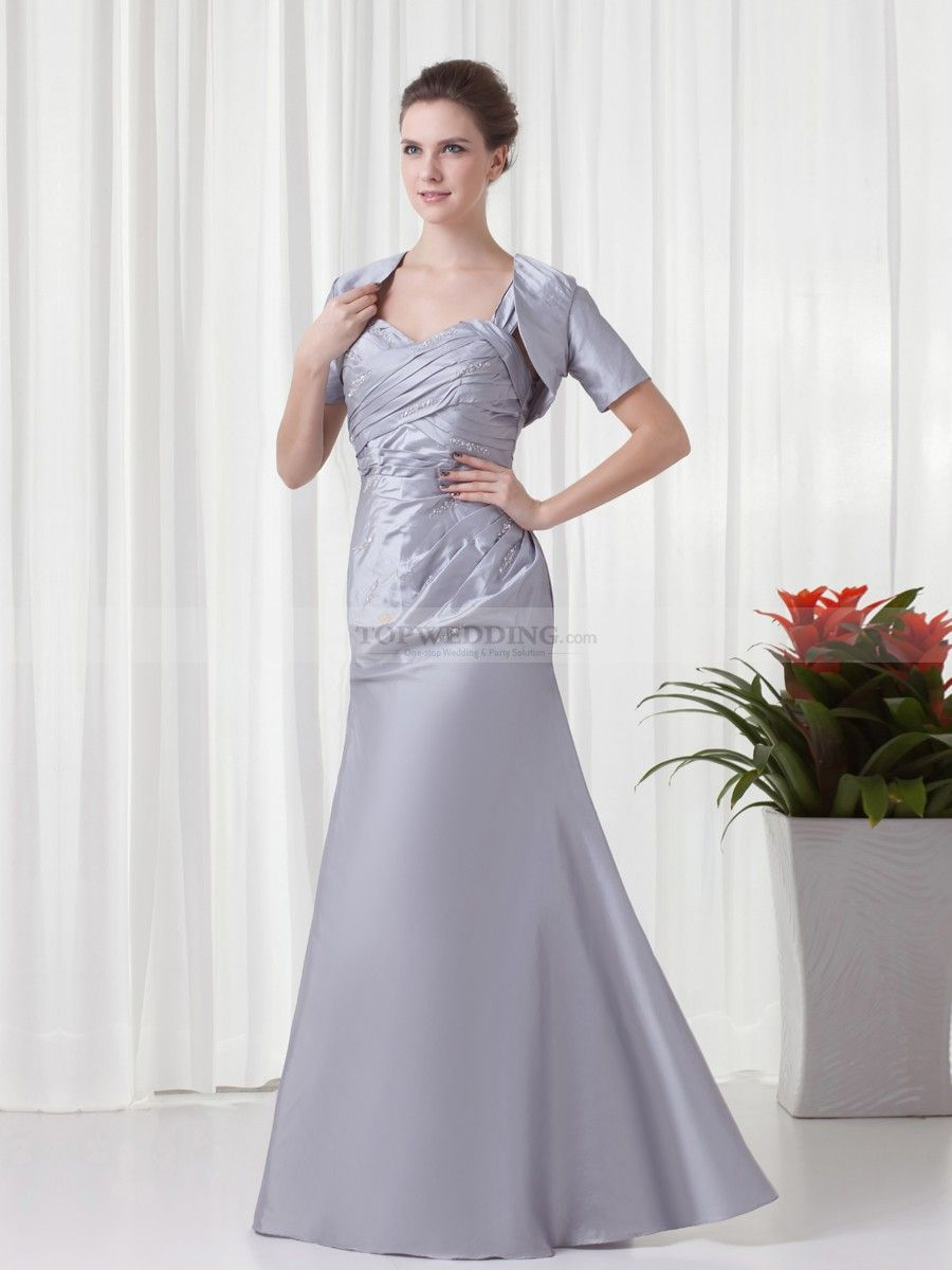 Dress with jacket for wedding  Sweetheart Taffeta Rhinestoned Floor Length Evening Dress with