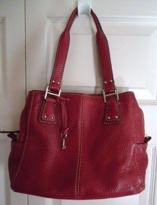 Red Soft Leather Fossil Purse Bag Handbag Wkey Mint Euc