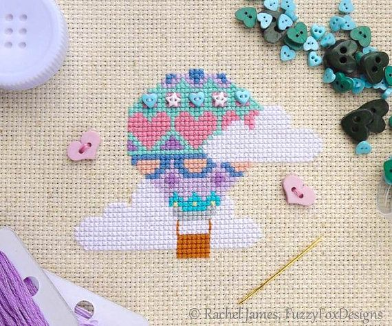 Pretty Pastels Hot Air Balloon Easy Beginners Cross Stitch Pattern PDF #pastelpattern