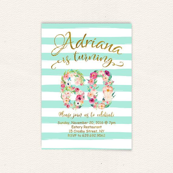 Birthday Invitation Turquoise Stripes Sixty Watercolor