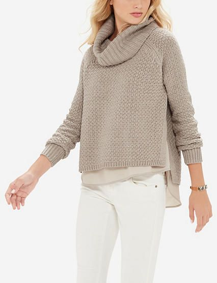 Essentials Womens Fisherman Cable Turtleneck Sweater