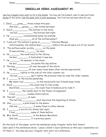 Irregular past and participle forms of verbs Speech