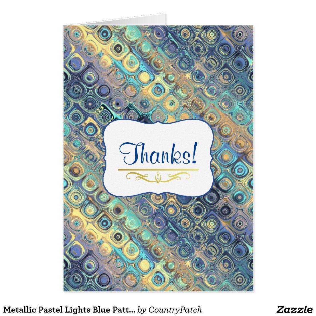 Metallic Pastel Lights Blue Pattern Custom greeting