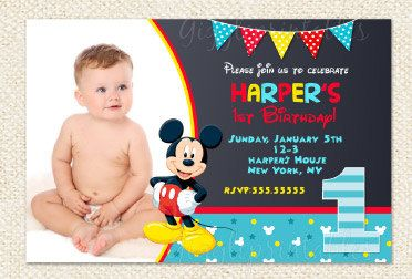 Mickey Mouse 1st Birthday Invitations First