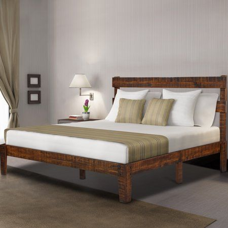 Granrest 12 Inch Classic Solid Wood Platform Bed With Headboard