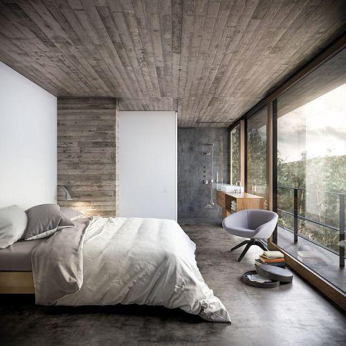 bedroom designed with nature materials industrial Pinterest - recamaras de madera modernas