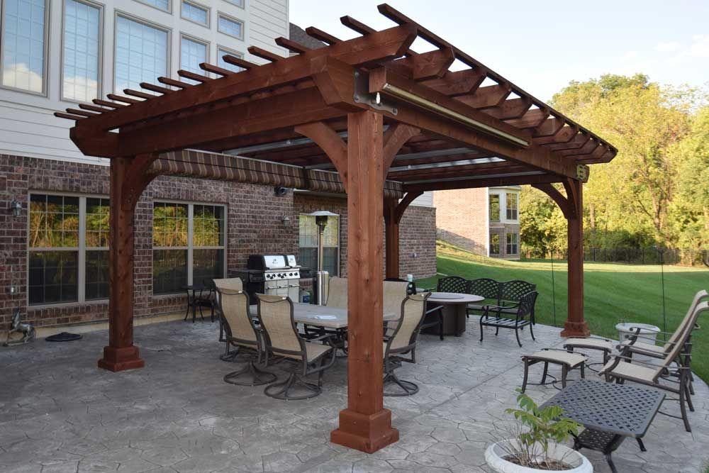 Large Wood Pergola Kingston Cedar Shades Canopy Curtain ...
