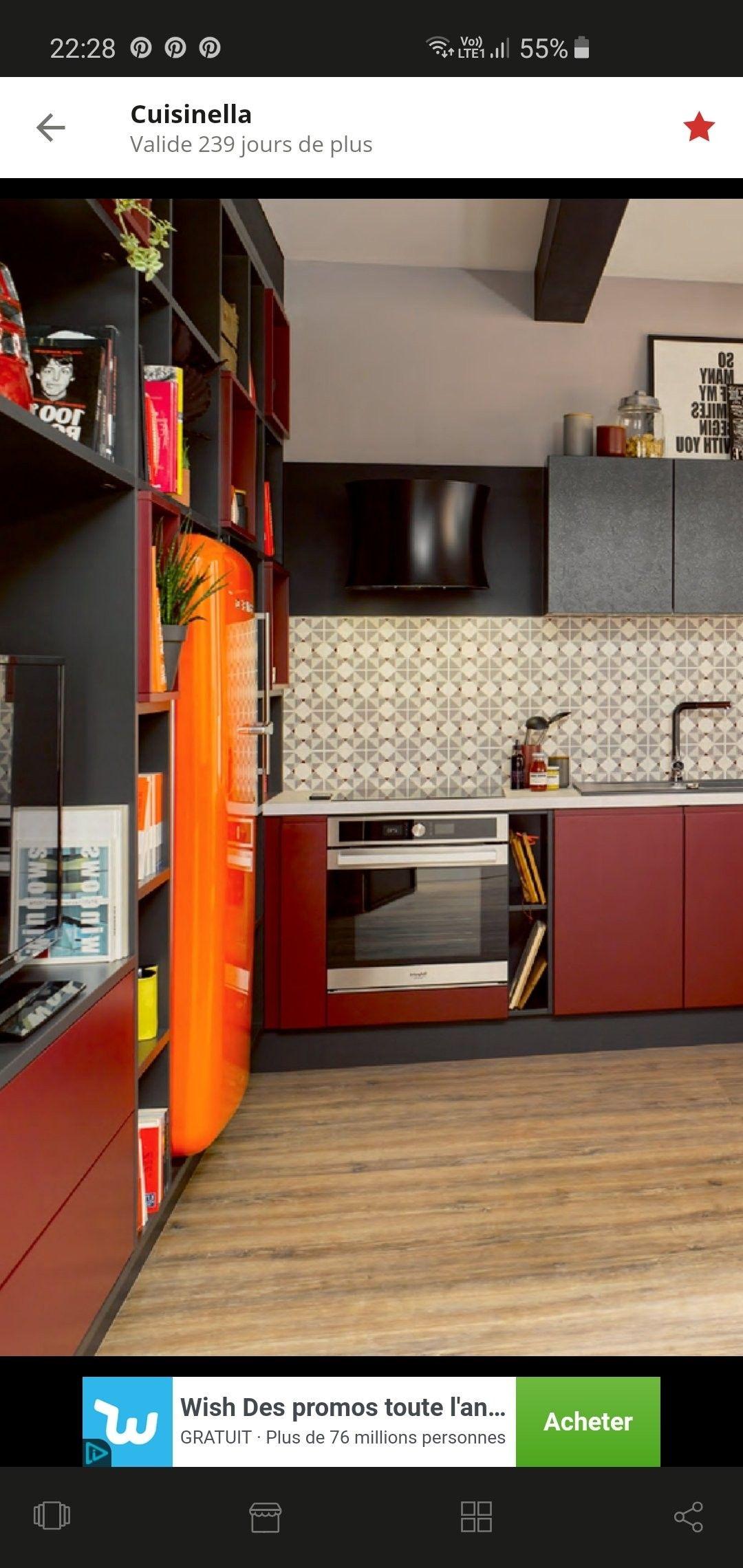 Epingle Par Lina Sur Credence Mur Cuisine Rouge Cuisinella