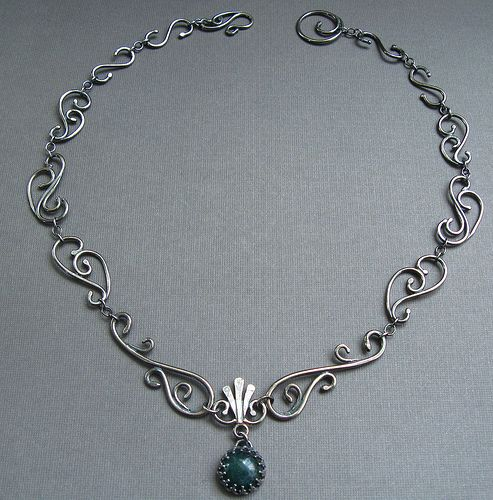 Sterling Silver Filigree Necklace with Moss Agate - Wrought Iron Architecturally Inspired Series by JaneFont, via Flickr