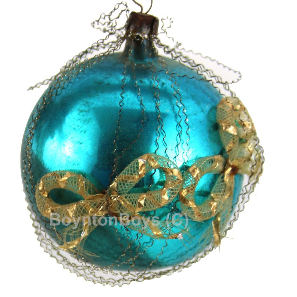 Vintage Blown Glass German Scrap Wire Ball Christmas Tree Ornament ...
