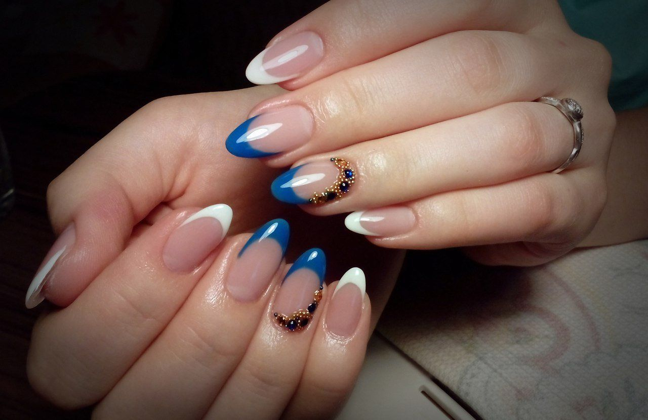 Blue and white french, Blue and white nails, Color french manicure, December nails, French manicure 2016, March nails 2016, Nail polish for blue dress, New years nails