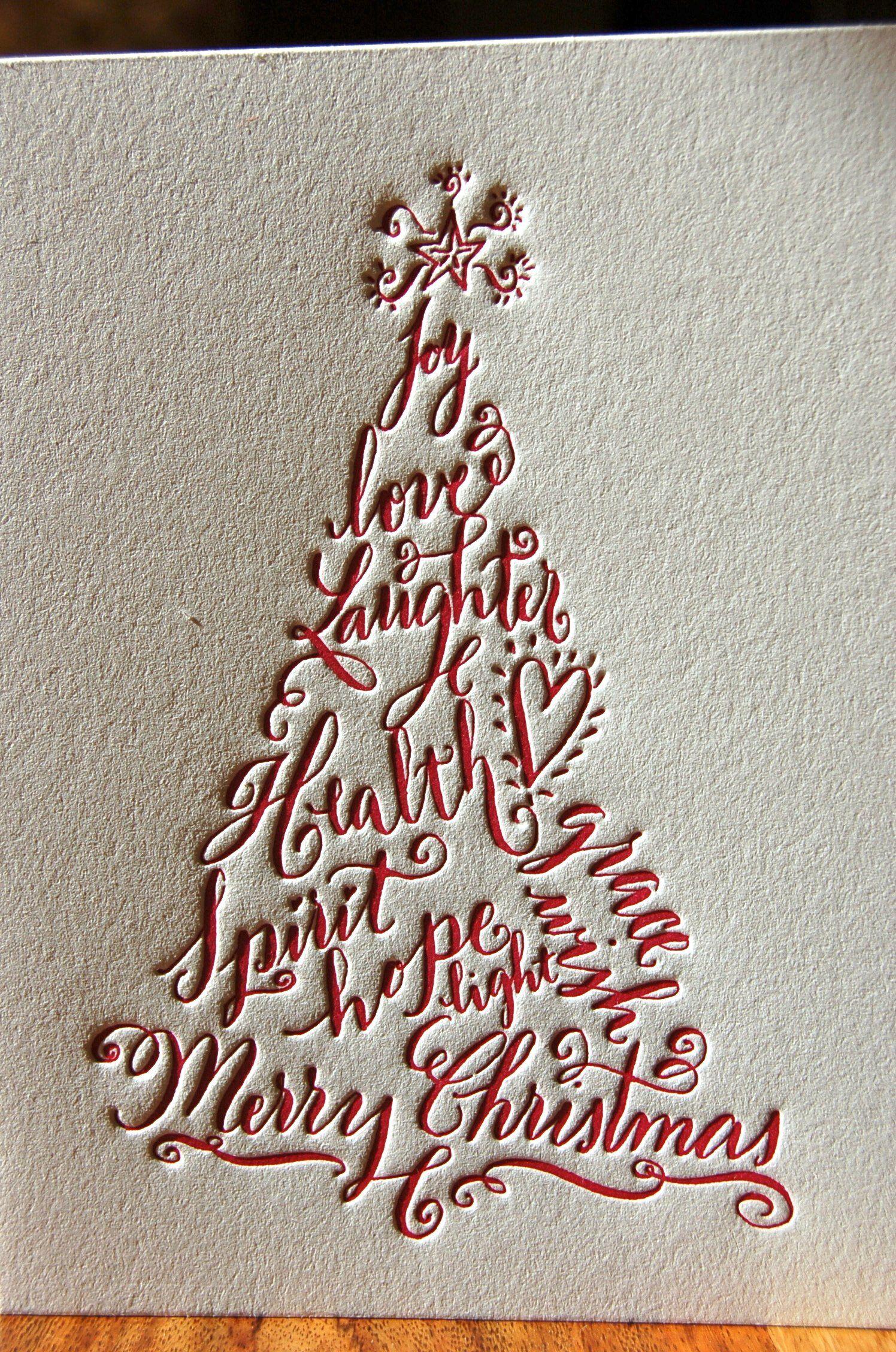 Letterpress Christmas Tree Cards, set of 12