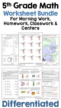These 5th grade math worksheets are printable and would be ...