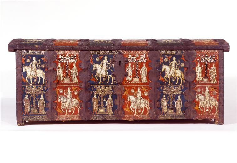 Cassone DESCRIPTION 1345-1354 Poids  33 kg PÉRIODE 14e siècle - peinture bois et fer