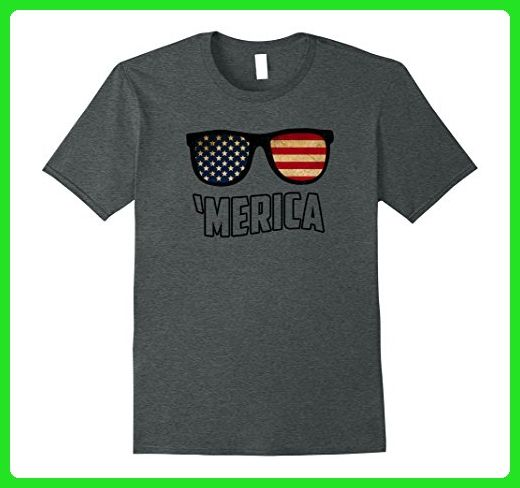 Mens  Merica Sunglasses T-shirt Fourth of July Patriots  Large Dark Heather - Holiday and seasonal shirts (*Amazon Partner-Link)