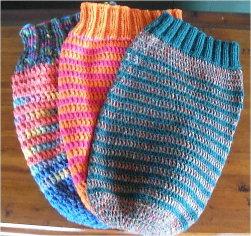 Crocheted newborn cocoon use my same pattern go to stripe after first few rounds omit this knitted top edge