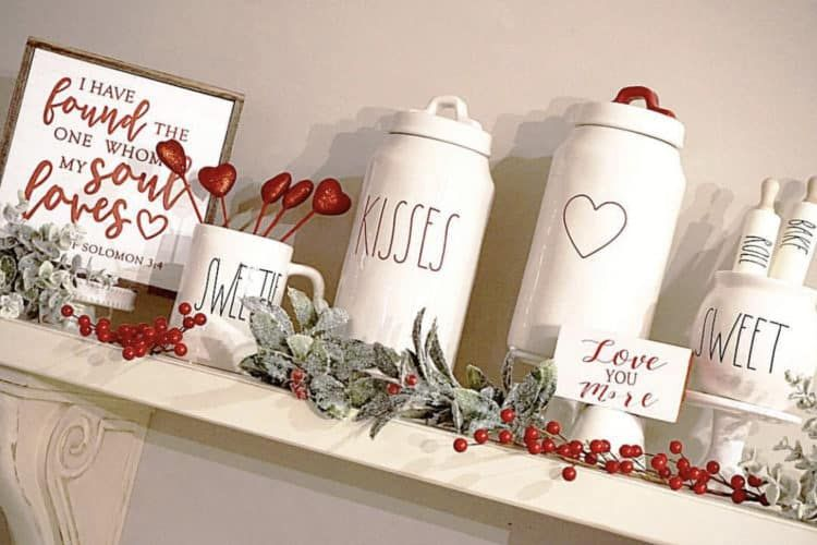 Valentines Decor Using Tiered Trays Farmhouse Signs And