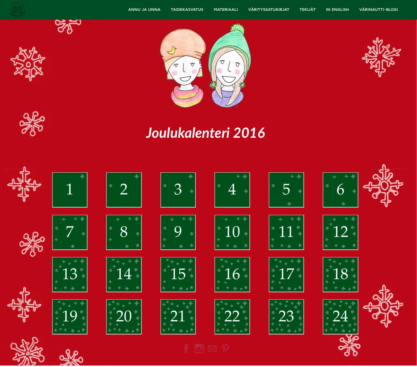 Värinauttien joulukalenteri 2016. Joka päivä uusi tarina ja värityskuva.