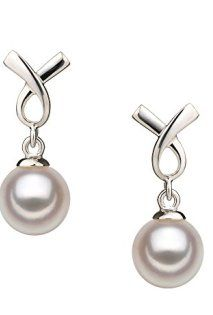 MOTHER'S DAY WHITE 6-7MM AA QUALITY JAPANESE AKOYA 925 STERLING SILVER CULTURED PEARL EARRING PAIR