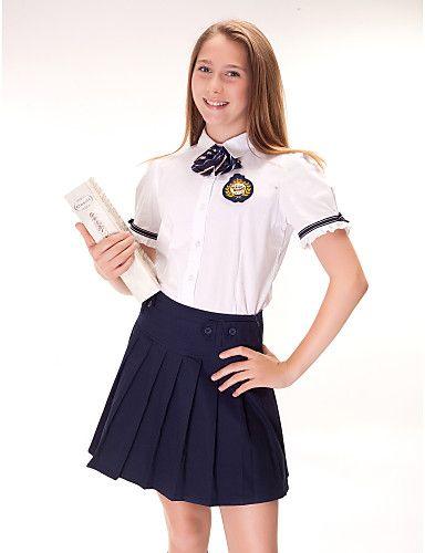 072dbd46845eb1 Uniforme escolar de un solo pecho Botones Camisas y Blusas Plain ...