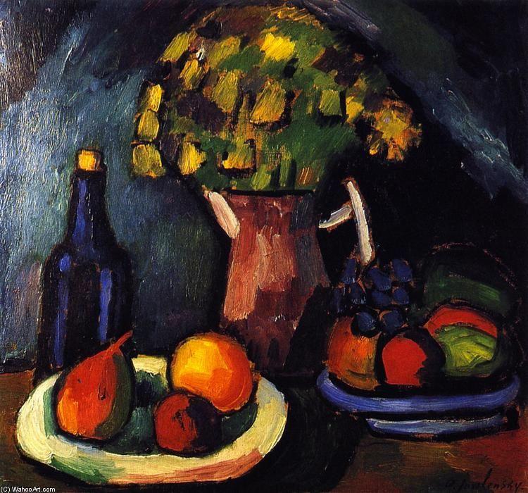 'Still LIfe with Bouquet, Fruit Bowls and Bottle', Tempera by Alexej Georgewitsch Von Jawlensky (1864-1941, Russia)