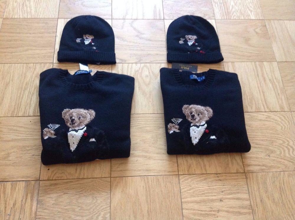 Polo Ralph Lauren Men s Martini Tuxedo Bear Sweater and Matching Skully Hat  XL  PoloRalphLauren  Crewneck a324d9029cd