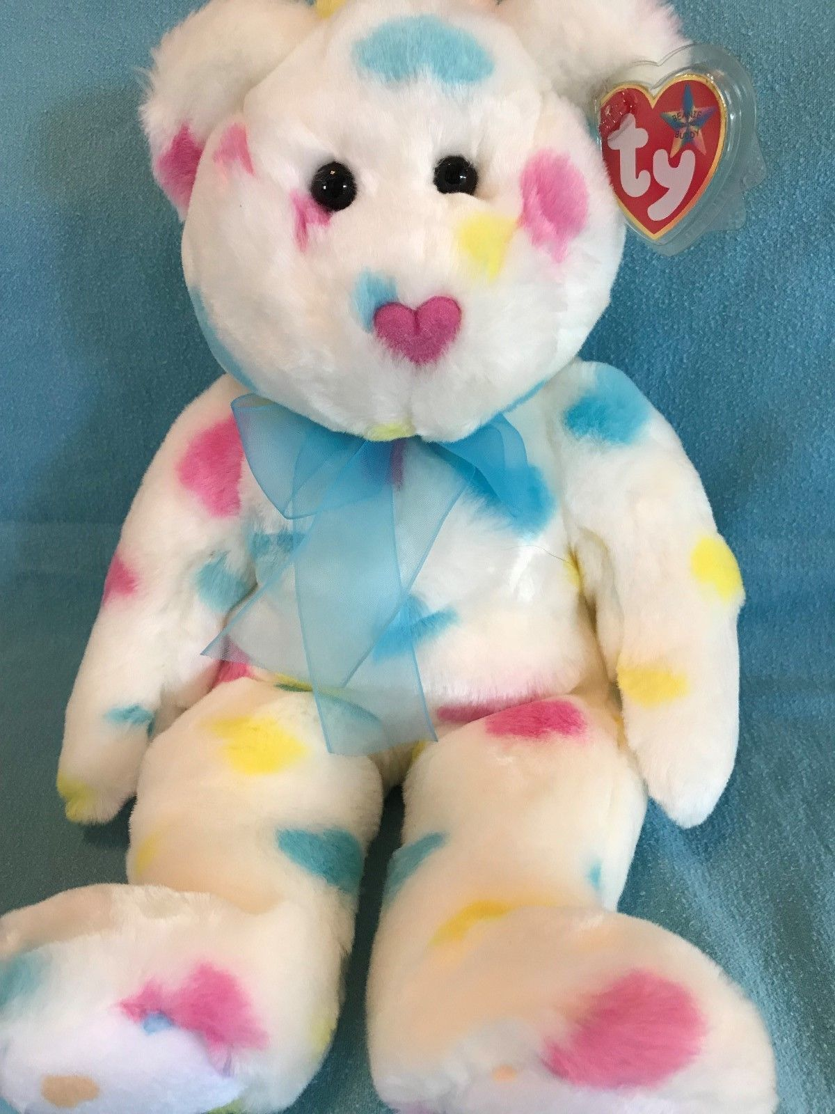 TY Beanie Buddy Kissme the Valentin s Day Bear 14 Stuffed Animal MWMT d756f1180c4b