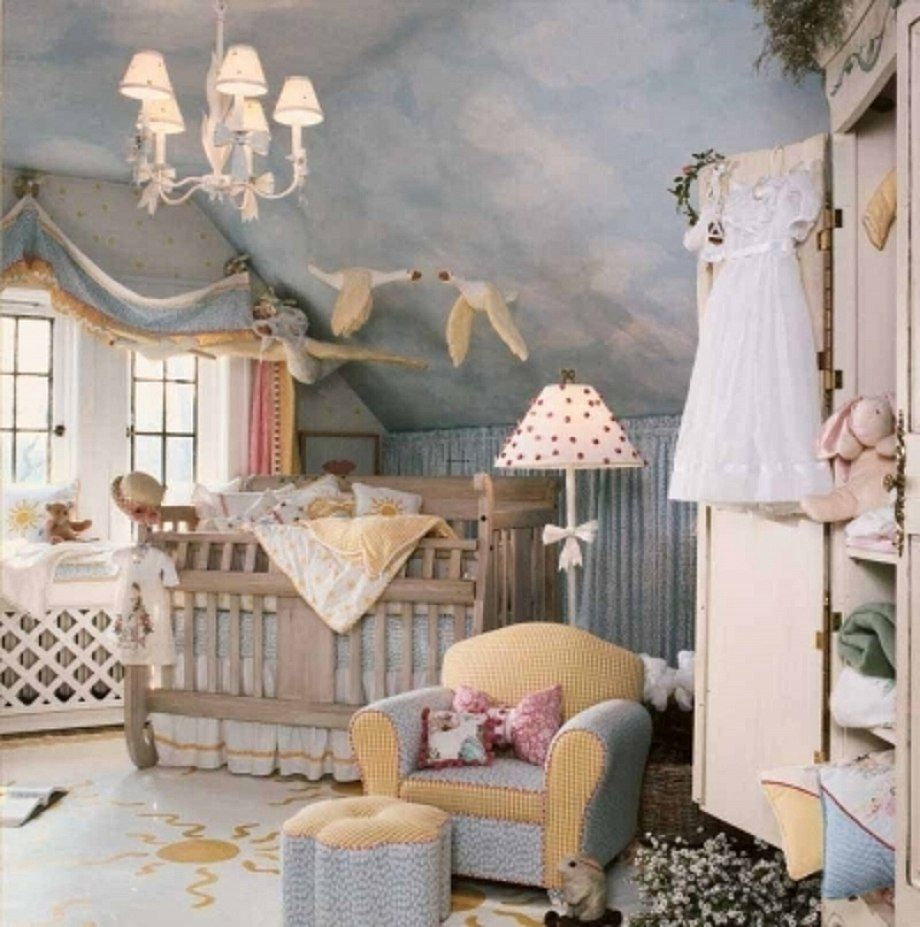 Charming Baby Nursery Attic With Cool Sloping Ceiling Decorated Mural Of Blue Sky White Clouds Also Gl Window And Chandelier Hanging Fake