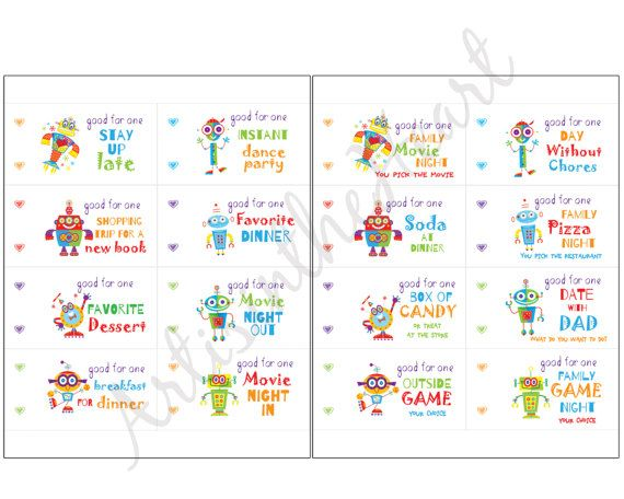 Coupon Book For Kids Printable Love Coupons Instant Download Diy