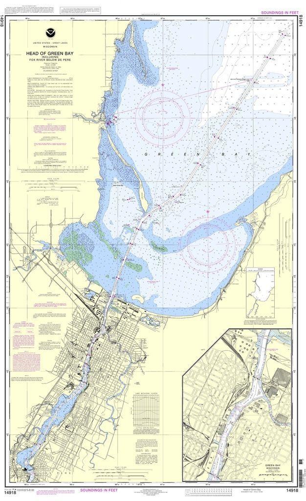 Noaa Nautical Chart 14918 Head Of Green Bay Including Fox River Below De Pere