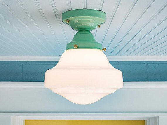 Schoolhouse Farmhouse Vintage Rewired Semi Flush Mount Ceiling Light Fixture Jadeite Milk Glass