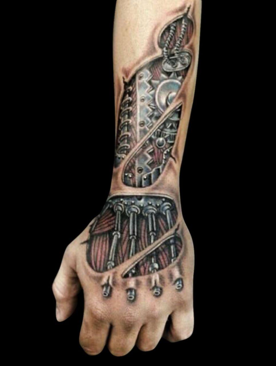 Evil3d Hand Tattoos In 2020 Biomechanical Tattoo Hand Tattoos Hand Tattoo Images