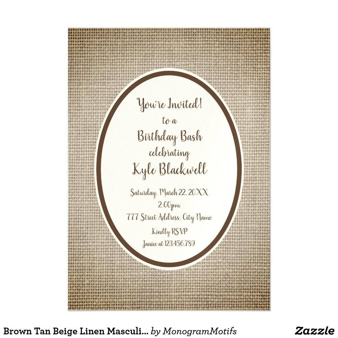 Brown Tan Beige Linen Masculine Birthday Magnetic Invitation
