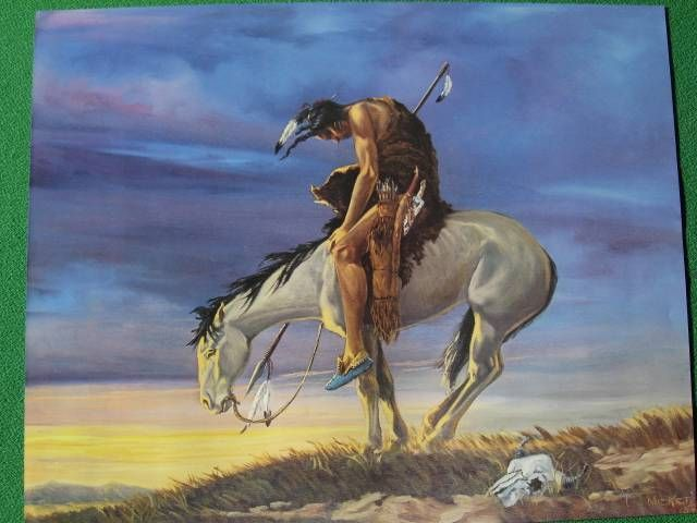 """Native American Indian on Horseback """"End of the Trail"""" Art ..."""