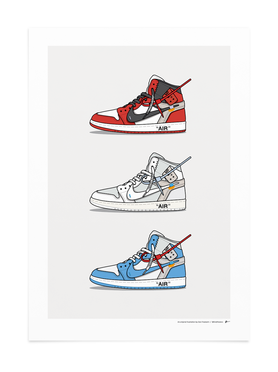 Triple Off White Jordan 1 Sneakers Wallpaper Nike Wallpaper Sneaker Posters
