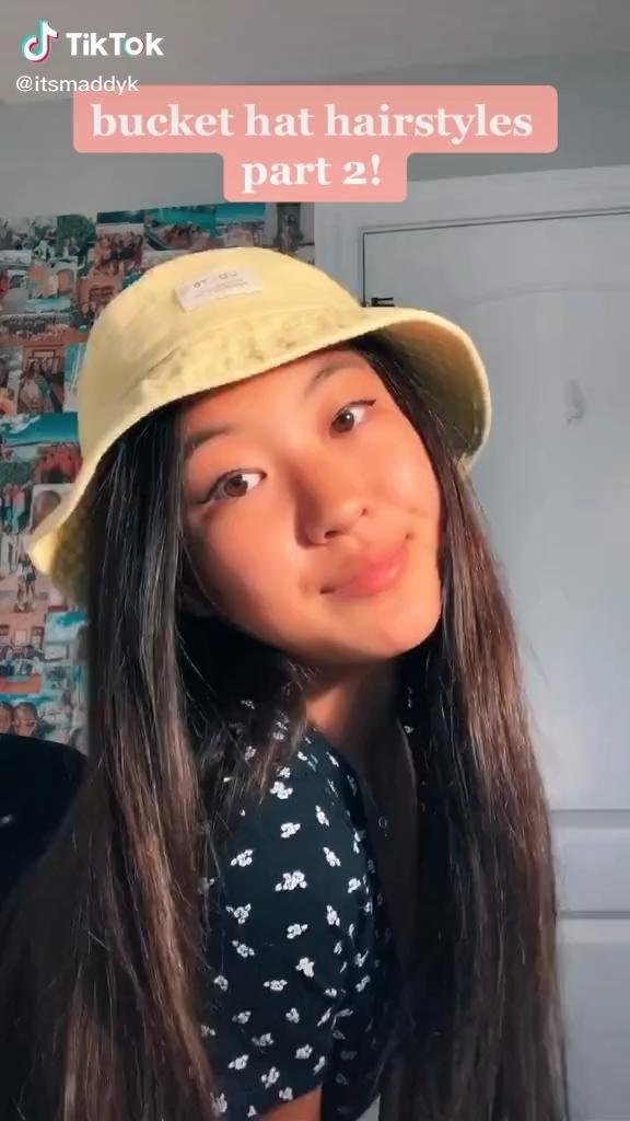 Bucket Hat Hairstyles Video In 2020 Cute Hairstyles For Teens Hair Styles Cute Hairstyles