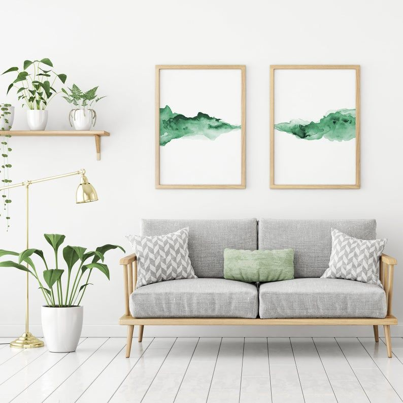 Forest Green Watercolour Printable Wall Art Decor Minimalist Etsy In 2020 Small Living Room Decor Pink Grey Wall Art Room Decor