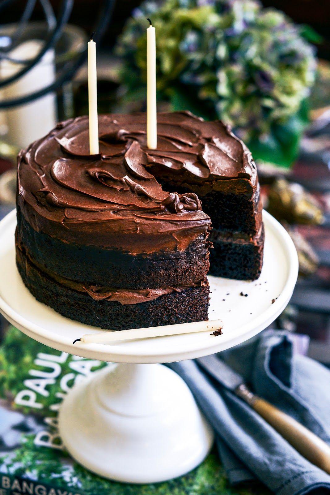 Birthday chocolate layer cake and raspberry champagne