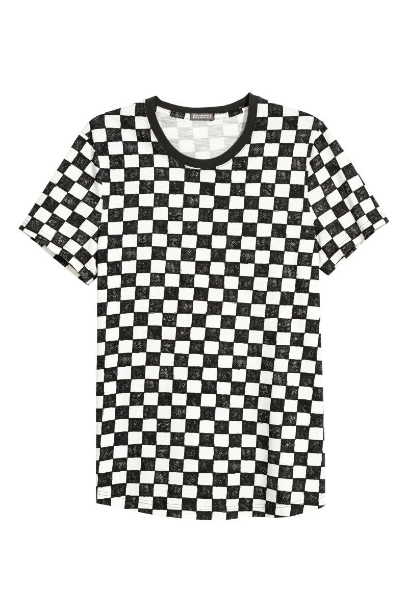 44167f1b Wide-cut T-shirt | White/checkerboard patterned | MEN | H&M US | T ...