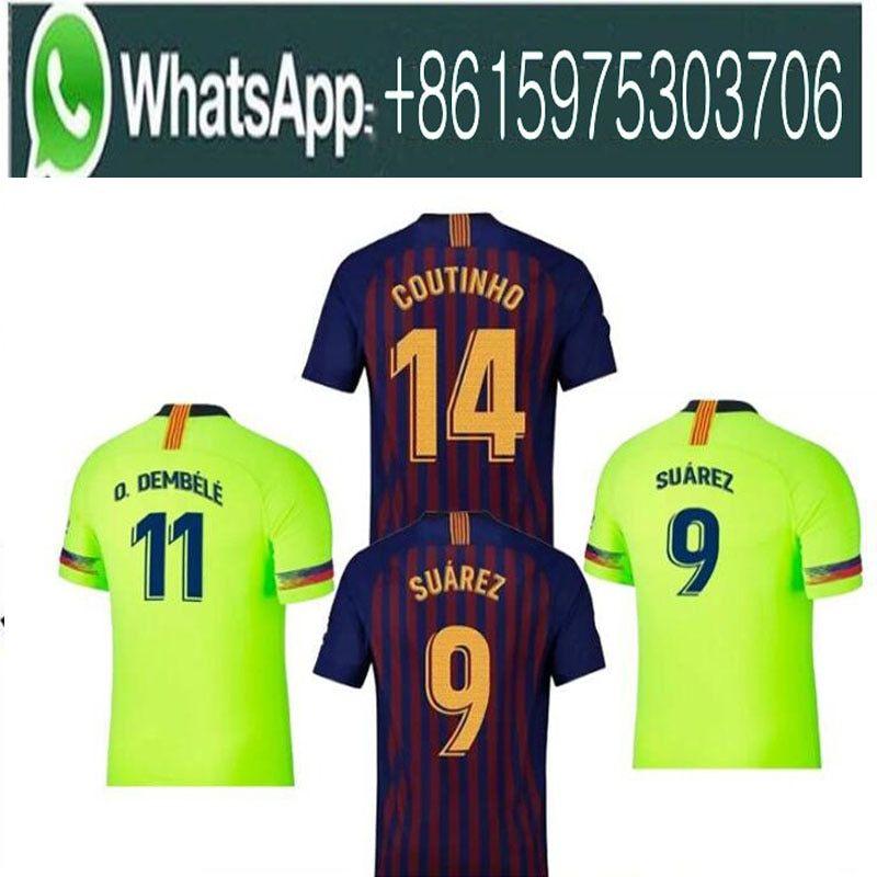 6c7e0f9c9 2018 Barcelona SUAREZ O.DEMBELE Jerseys 2018 2019 Camisas Coutinho Messi  INIESTA PIQUE Soccer Jersey 18 19 Camiseta de futbol