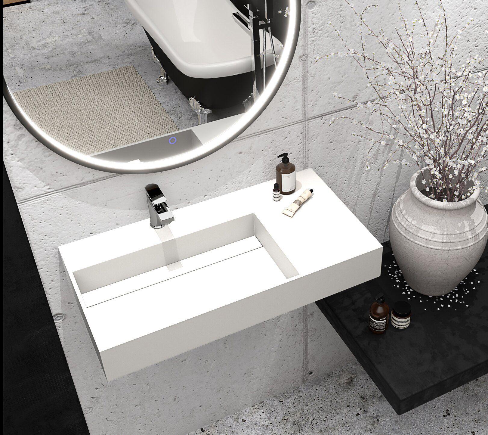 Boyter Stone Rectangular Wall Mount Bathroom Sink Wall Mounted Bathroom Sink Sink Wall Mounted Bathroom Sinks [ 1445 x 1622 Pixel ]