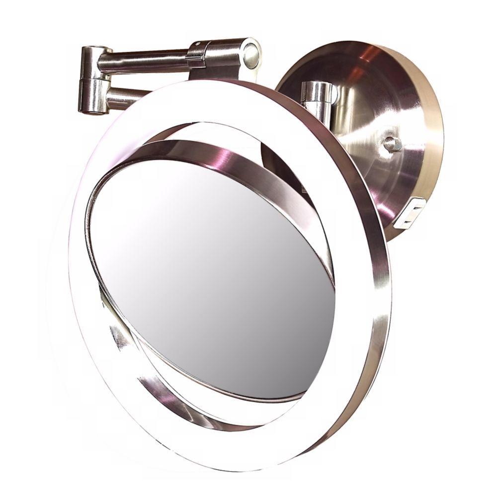 "Satin Nickel Finish CFL 12 3/4""H Plug-In Wall Mount Mirror ..."