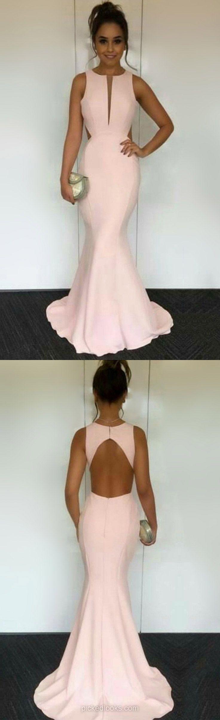 Long ball dresses pink mermaid prom dresses silklike evening