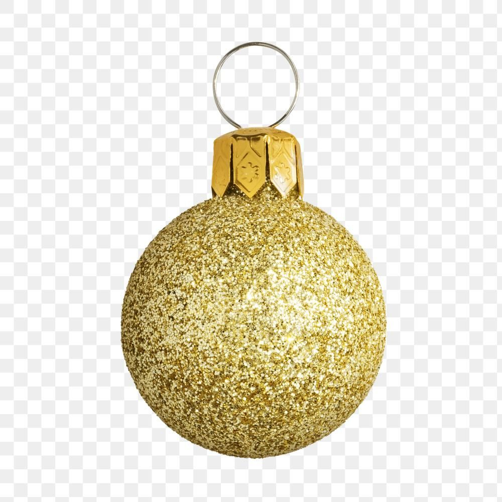 Download Premium Png Of A Glitter Gold Ball Christmas Ornament On Gold Christmas Decorations Christmas Ornaments Gold Glitter